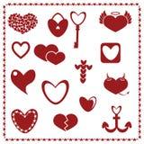 Комплект красных сердец, вектор дня валентинки Стоковая Фотография RF