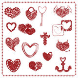 Комплект красных сердец, вектор Doodle дня валентинки Стоковые Изображения