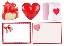 Комплект красных сердец: подарок, сердце, карточки Валентинки St Стоковая Фотография