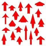 Комплект красных стрелок на белой предпосылке Стоковые Изображения