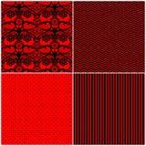 Комплект красных черных безшовных картин, простая картина, шнурок Стоковая Фотография