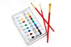 Комплект красок и щеток Стоковые Изображения RF