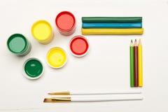 Комплект красок на белой предпосылке Стоковая Фотография