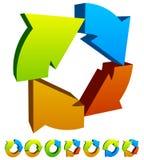 Комплект красочного кругового значка стрелки 7 Стоковое Изображение