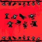 Комплект красочного, шарж, смешные изверги, торжество хеллоуина Стоковые Фото