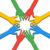Комплект красочной руки при тень изолированная на белой предпосылке e Стоковая Фотография