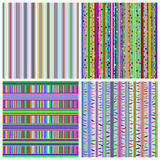 Комплект 4 красочных абстрактных striped безшовных картин Стоковое Изображение RF