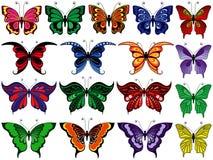Комплект 17 красочных бабочек Стоковые Фотографии RF