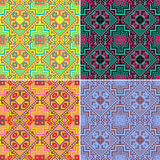Комплект красочных безшовных геометрических картин этническо иллюстрация штока