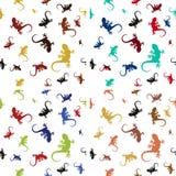 Комплект красочных безшовных картин с ящерицами Стоковая Фотография