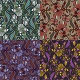 Комплект 4 красочных безшовных картин EPS-8 Стоковые Фотографии RF