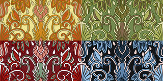 Комплект 4 красочных безшовных картин EPS-8 Стоковые Изображения