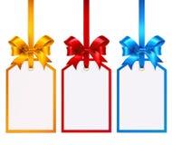 Комплект красочных бирок с silk смычками Стоковое Фото