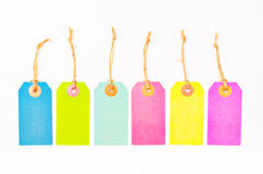 Комплект красочных бумажных пустых ценников Стоковое Изображение
