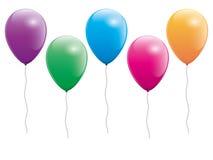 Комплект 5 красочных воздушных шаров Иллюстрация штока