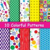 Комплект 10 красочных геометрических безшовных картин Стоковые Изображения RF