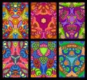 Комплект 6 красочных декоративных поздравительных открыток на черном backgrou Стоковые Изображения