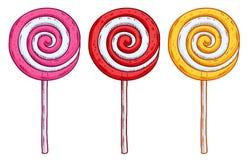 Комплект красочных леденцов на палочке в стиле нарисованном рукой Стоковая Фотография RF