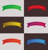 Комплект красочных знамен лент, ярлыков, стикеров, иллюстрации стоковые фото