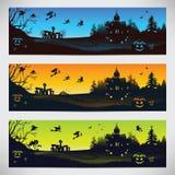 Комплект красочных знамен на хеллоуине бесплатная иллюстрация