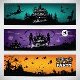 Комплект красочных знамен на хеллоуине иллюстрация штока