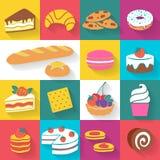 Комплект красочных значков хлебопекарни в плоском стиле Стоковое Изображение