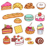 Комплект красочных значков хлебопекарни в стиле нарисованном рукой Стоковое Фото