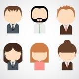 Комплект красочных значков людей офиса. Бизнесмен. Коммерсантка. Стоковые Изображения RF
