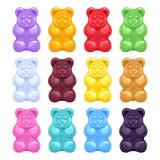 Комплект красочных красивых камедеобразных медведей Стоковое фото RF