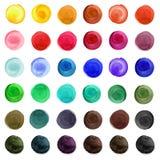 Комплект красочных кругов акварели изолированных на белизне иллюстрация вектора