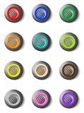 Комплект красочных круглых кнопок с грилем Стоковые Изображения RF