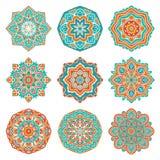 Комплект красочных мандал Стоковое Изображение