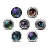 Комплект красочных объективов фото камеры также вектор иллюстрации притяжки corel Стоковое фото RF