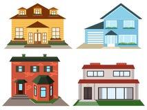 Комплект красочных домов коттеджа Стоковое Изображение