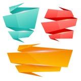 Комплект красочных лоснистых знамен origami Стоковые Изображения RF
