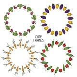 Комплект красочных рамок овощей иллюстрация Стоковое фото RF