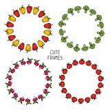 Комплект красочных рамок овощей иллюстрация Стоковые Фотографии RF