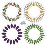 Комплект красочных рамок овощей иллюстрация Стоковые Изображения