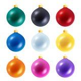 Комплект красочных реалистических шариков рождества Стоковая Фотография RF