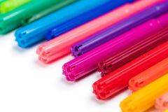 Комплект красочных ручек чувствуемой подсказки изолированных на белизне Стоковое фото RF