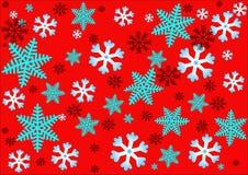 Комплект красочных снежинок на красной предпосылке Стоковые Изображения RF