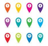 Комплект красочных указателей карты, значков штыря карты Стоковое Изображение RF