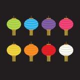 Комплект красочных фонариков для украшения Стоковая Фотография