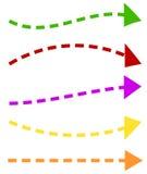 Комплект 5 красочных форм стрелки Длинные, горизонтальные стрелки иллюстрация вектора