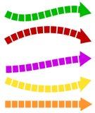 Комплект 5 красочных форм стрелки Длинные, горизонтальные стрелки бесплатная иллюстрация