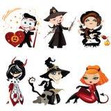 Комплект 6 красочных характеров на хеллоуине иллюстрация вектора