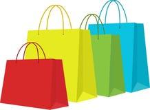 Комплект красочных хозяйственных сумок в белизне Иллюстрация вектора