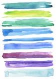 Комплект красочных ходов щетки акварели Стоковое Изображение