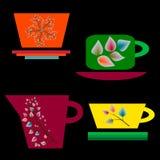 Комплект красочных чашек для чая Стоковые Изображения RF