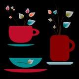 Комплект красочных чашек для чая Стоковое Изображение